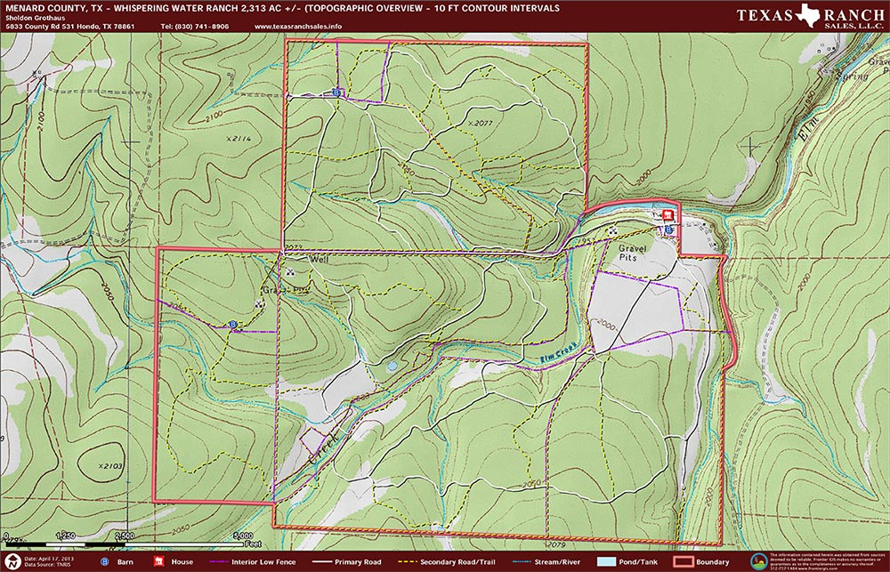 2313 Acre Ranch Menard Topography Map