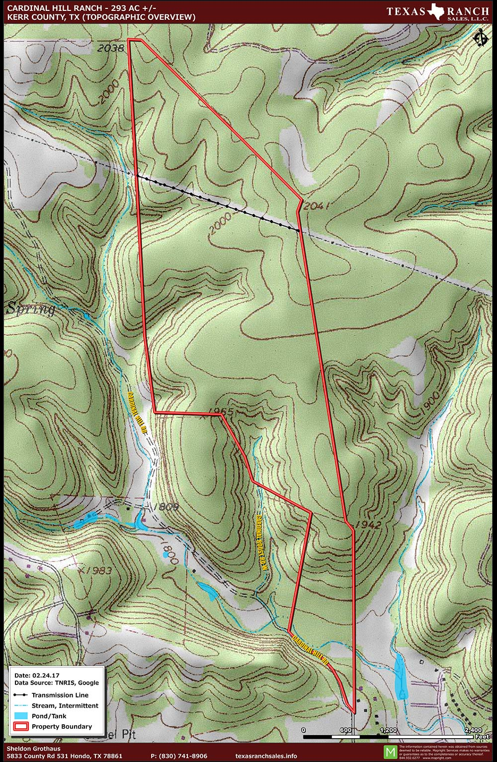293 Acre Ranch Kerr Topography Map