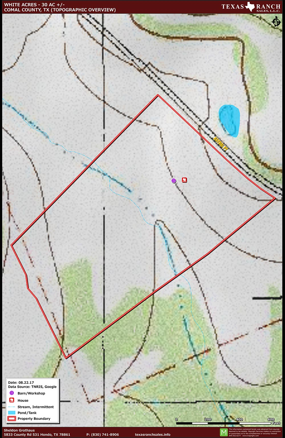 30 Acre Ranch comal Topography Map