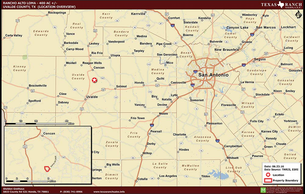 400 Acre Ranch Uvalde Location Map Map