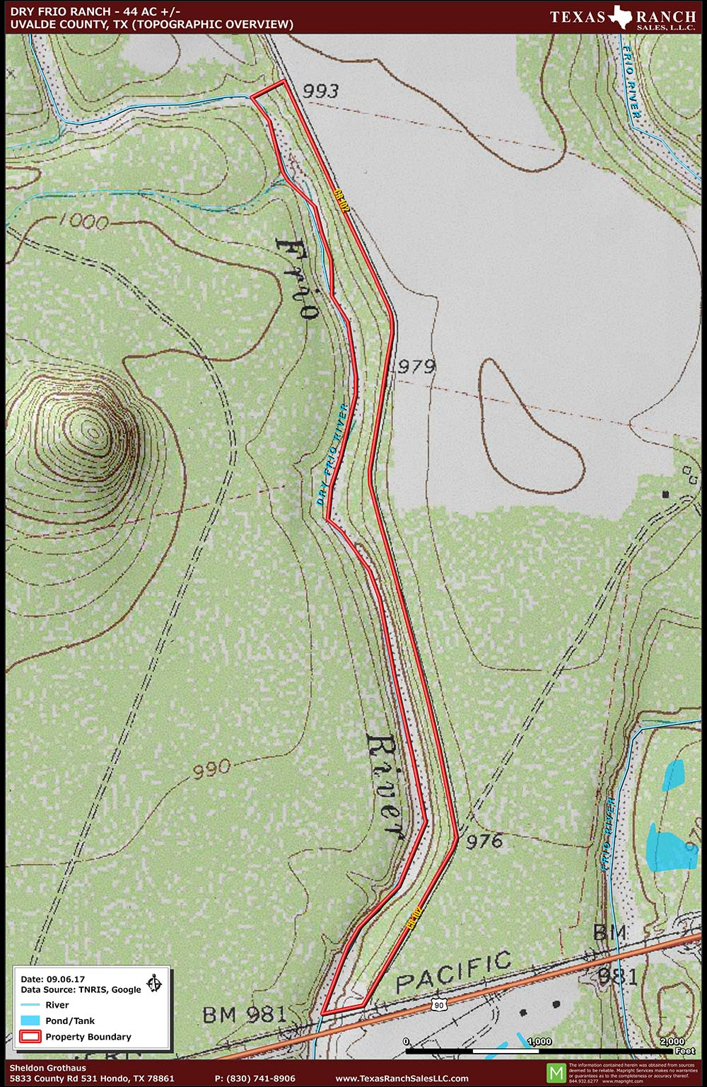 44 Acre Ranch Uvalde Topography Map